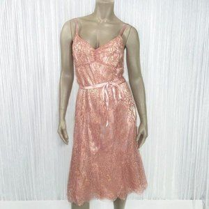 ANN TAYLOR Pink and Gold Lace Party Dress Size 10